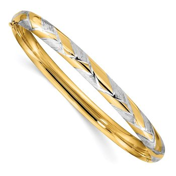 14k 4/16 w/White Rhodium Textured Hinged Bangle