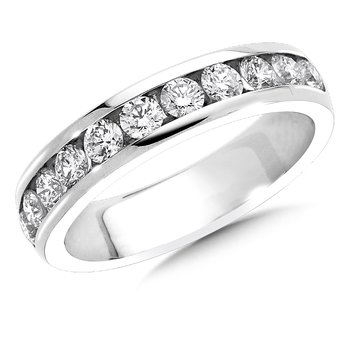Channel set Round Diamond Wedding Band 14k White Gold (1ct. tw.)