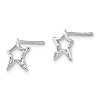 SS White Ice Diamond Star Post Earrings