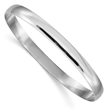 14k White Gold 6mm Solid Polished Half-Round Slip-On Bangle