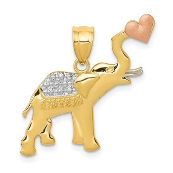 14k Two-tone w/White Rhodium D/C Elephant w/Heart Pendant