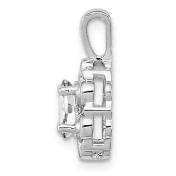 Sterling Silver Rhodium-plated White Topaz & Diam. Pendant
