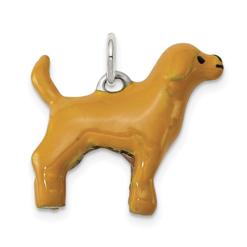 Quality Gold Sterling Silver Enameled Yellow Labrador Charm