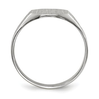 14k White Gold 7.0x9.0mm Closed Back Signet Ring