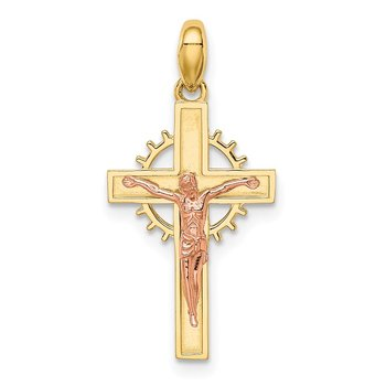 14K Two-tone Crucifix Pendant