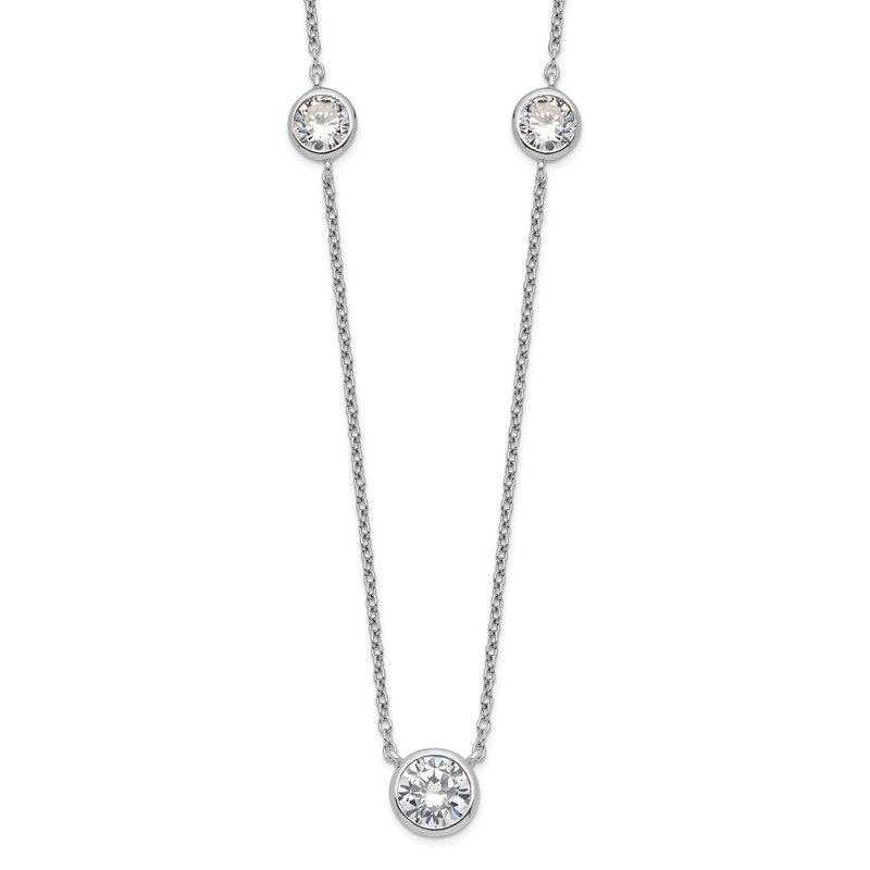 Quality Gold Sterling Silver Rhodium-plated 3 Station CZ Necklace