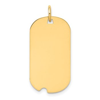 14k Plain .018 Gauge Engraveable Dog Tag w/Notch Disc Charm