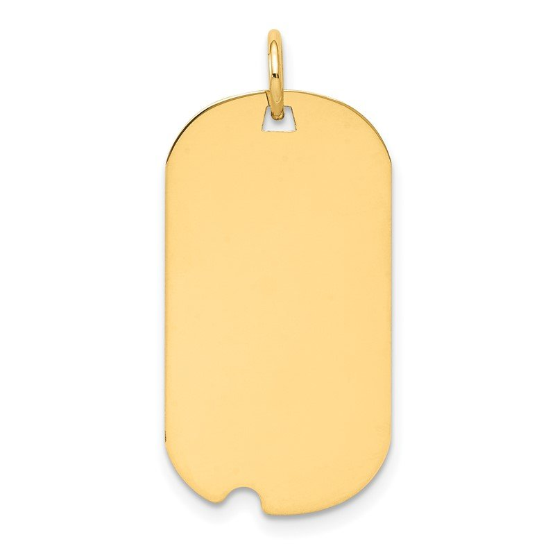 Quality Gold 14k Plain .018 Gauge Engraveable Dog Tag w/Notch Disc Charm