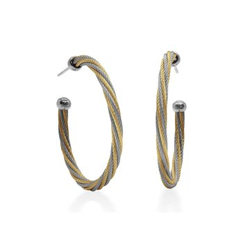 Yellow & Grey Twisted Cable 1.5″ Hoop Earrings with 18kt White Gold