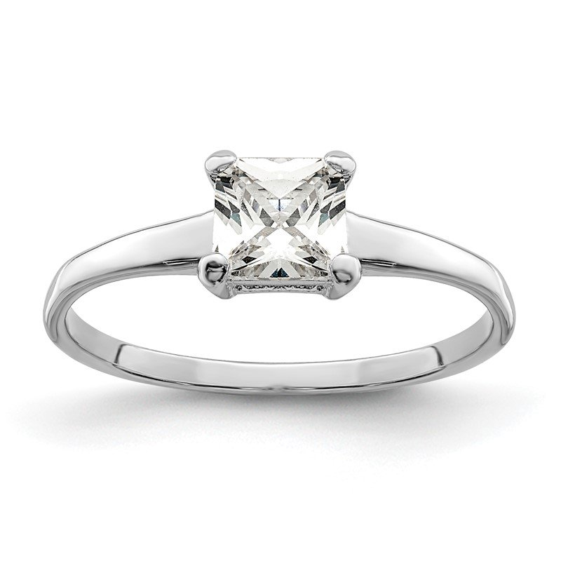 Quality Gold Sterling Silver Rhodium-plated Solitaire Princess CZ Ring