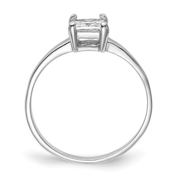 Sterling Silver Rhodium-plated Solitaire Princess CZ Ring