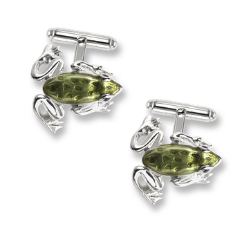 Sterling Silver Frog T-Bar Cufflinks -Green.