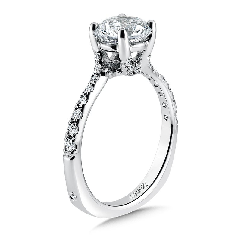 Caro74 Criss Cross Engagement Ring with Side Stones in 14K White Gold (1-1/2ct. tw.)
