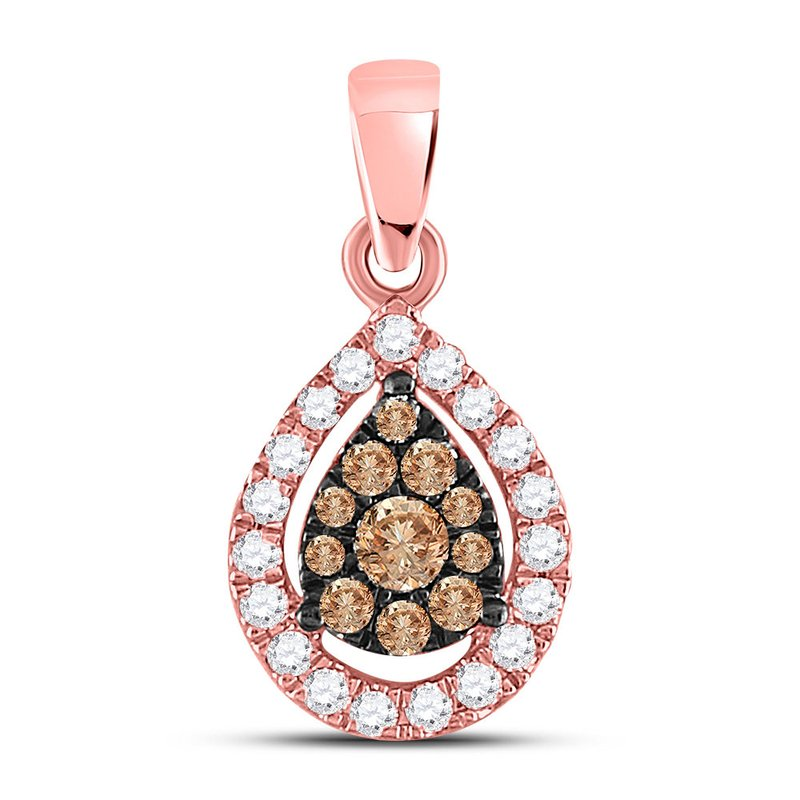 Kingdom Treasures 14kt Rose Gold Womens Round Brown Color Enhanced Diamond Teardrop Cluster Pendant 1/3 Cttw