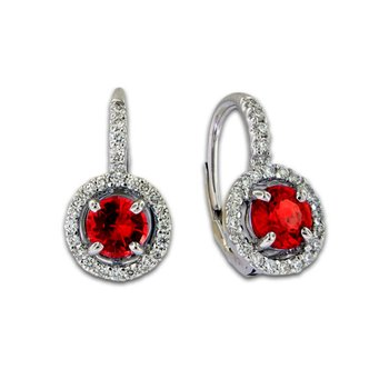 Ruby & Diamond Lever Cluster Earrings