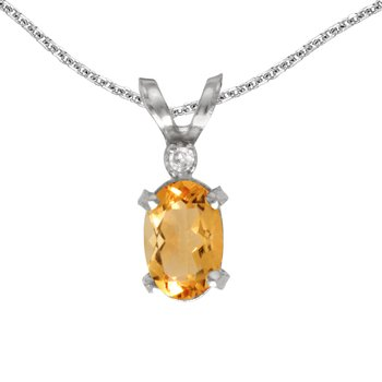 14k White Gold Oval Citrine And Diamond Filagree Pendant