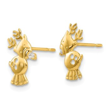 14k Madi K CZ Children's Reindeer Post Earrings