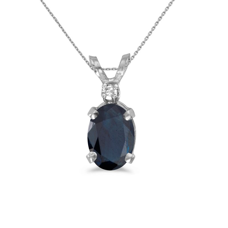 Color Merchants 14k White Gold Oval Sapphire And Diamond Pendant