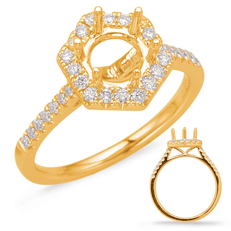 MAZZARESE Bridal Yellow Gold Halo Engagement Ring