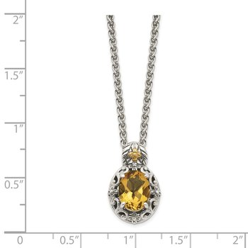 Sterling Silver w/ 14K Accent Citrine Necklace