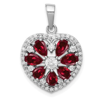 Sterling Silver Rhodium-plated Polished CZ and Lab Cr. Ruby Heart Pendant