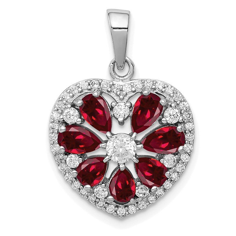 Quality Gold Sterling Silver Rhodium-plated Polished CZ and Lab Cr. Ruby Heart Pendant