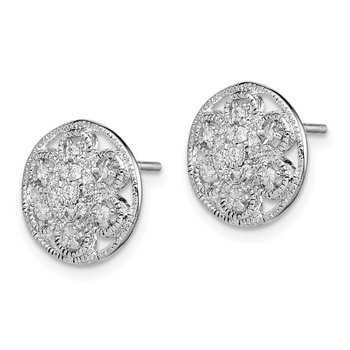 Sterling Silver Rhodium-plated CZ Textured Flower Post Earrings
