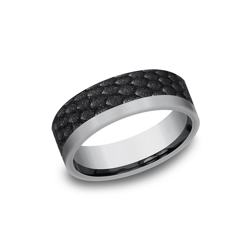 Benchmark Tantalum and Black Titanium Comfort-fit Design Wedding Band