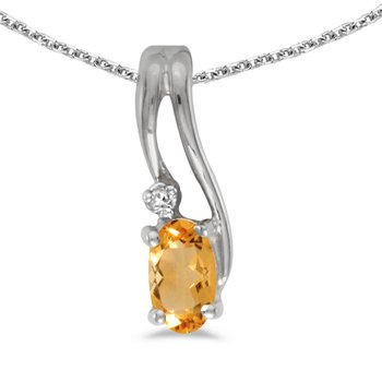 10k White Gold Oval Citrine And Diamond Wave Pendant