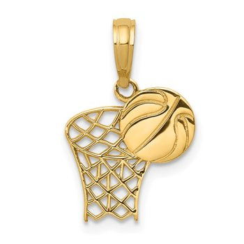 14k Basketball Hoop and Ball Pendant