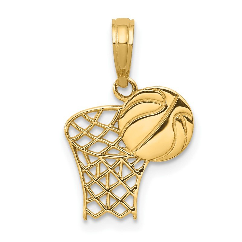 Fine Jewelry by JBD 14k Basketball Hoop and Ball Pendant