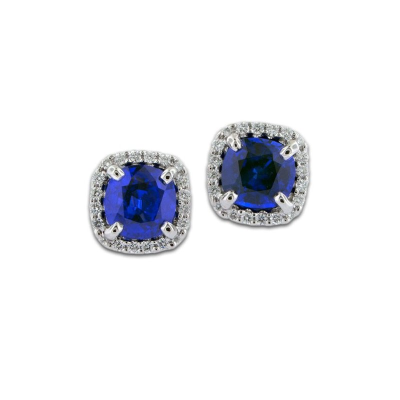 James Breski Cushion Sapphire & Diamond Earrings