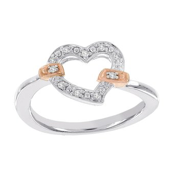 Rose-plated Sterling Silver Diamond Accent Heart Promise Ring