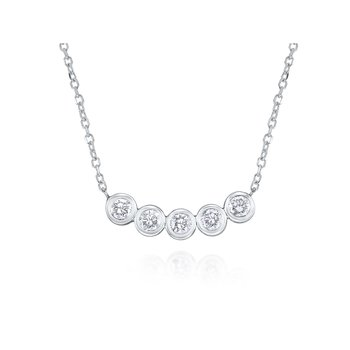 14K Diamond Five Stone Necklace