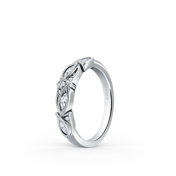 Botanical Floral Marquise Diamond Wedding Band