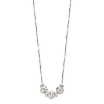 Sterling Silver Polished Diamond-cut Beads Necklace