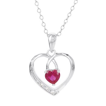 Sterling Silver Created Ruby and Diamond Accent Open Heart Pendant