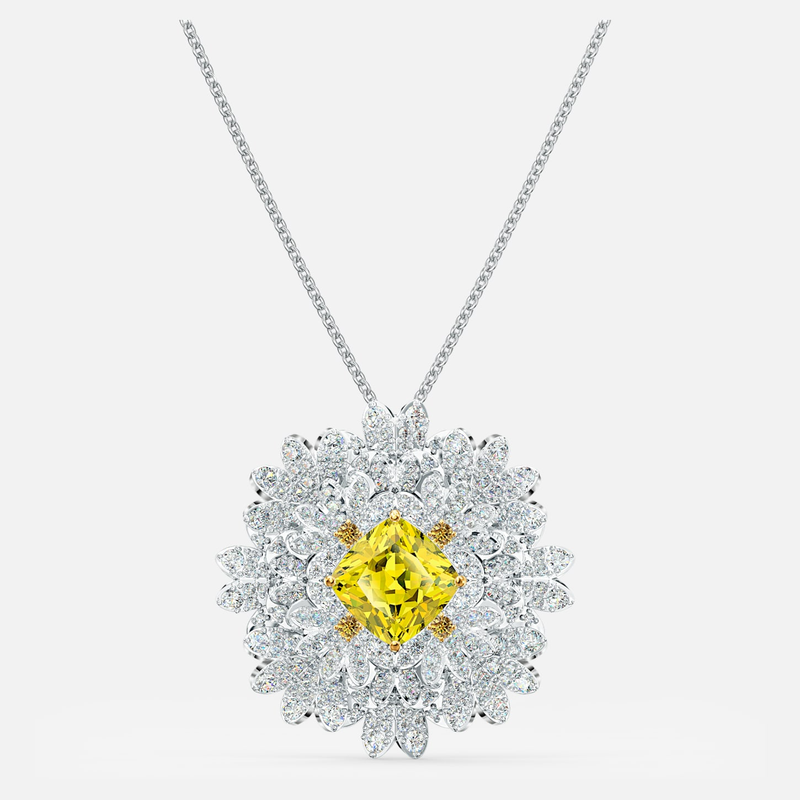 Swarovski Eternal Flower Brooch, Yellow, Mixed metal finish