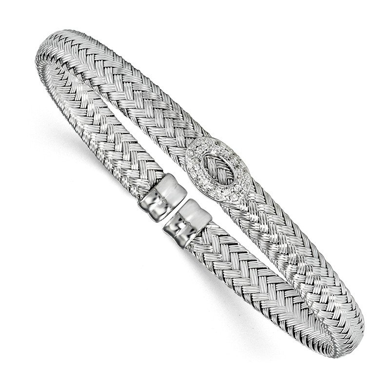 Leslie's Leslie's Sterling Silver Rhodium-plated CZ Woven Cuff