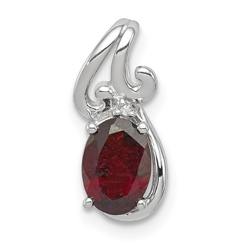 Quality Gold Sterling Silver Rhodium Plated Diamond & Garnet Oval Pendant