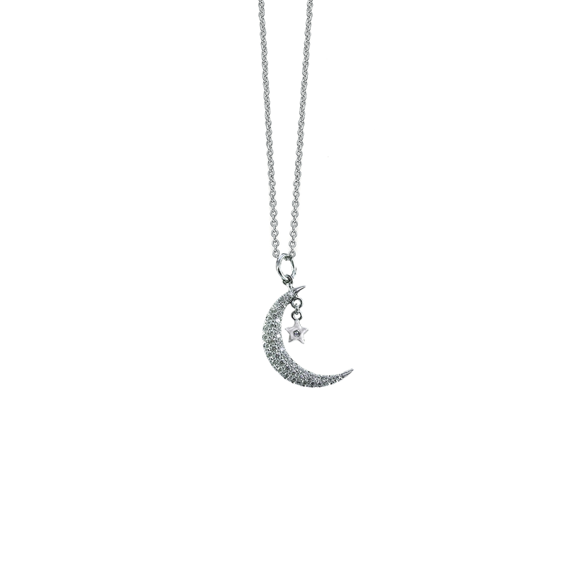 Roberto Coin 18Kt Gold Half Moon With Star Diamond Pendant