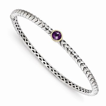Sterling Silver w/14k Amethyst Bangle Bracelet