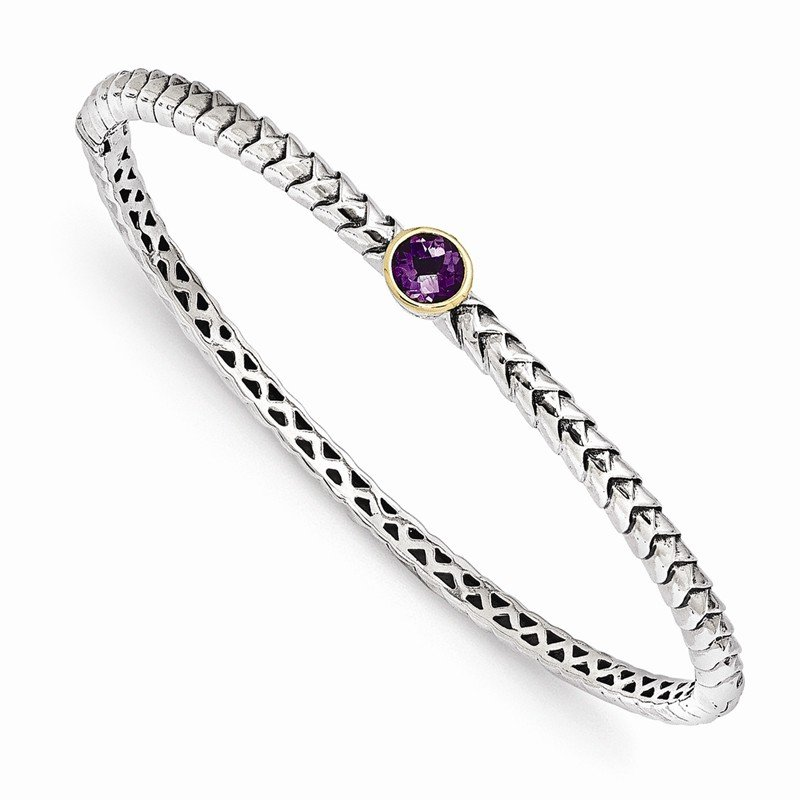 Shey Couture Sterling Silver w/14k Amethyst Bangle Bracelet