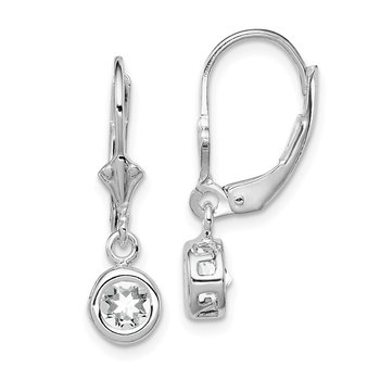 Sterling Silver Rhodium 5mm Round CZ Leverback Earrings