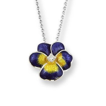 Purple Pansy Necklace.Sterling Silver-White Sapphire