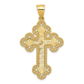 14k Budded Greek Key Cross Pendant
