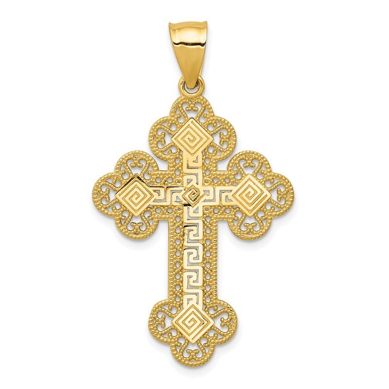 Quality Gold 14k Budded Greek Key Cross Pendant