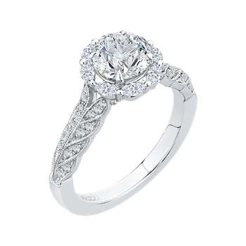 18K White Gold Round Diamond Floral Halo Engagement Ring (Semi-Mount)