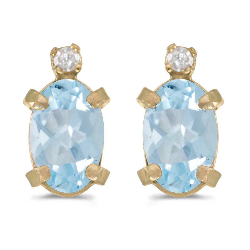 14k White Gold Oval Aquamarine And Diamond Earrings