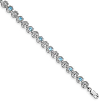 Sterling Silver Rhodium-plated Blue Topaz Diamond Bracelet
